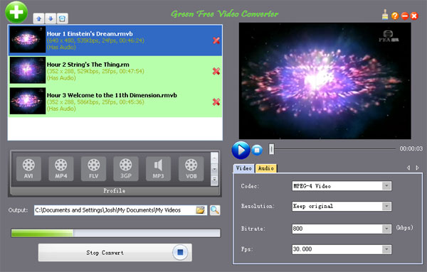 Click to view Green Free Video Converter 1.0 screenshot